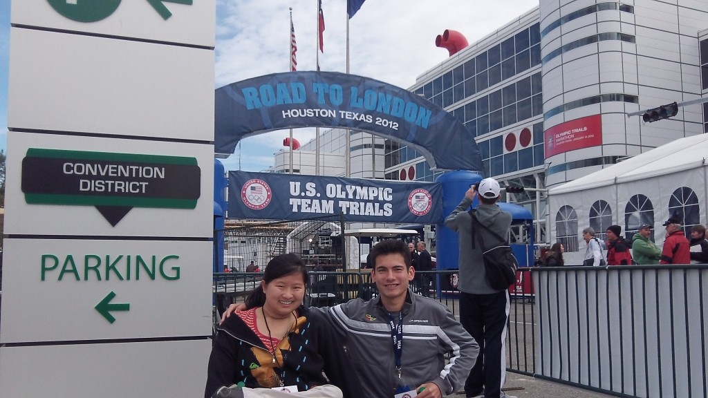 My sister and I at the starting line for the 2012 Olympic Trials Marathon. My mind and body were not 100% for that race