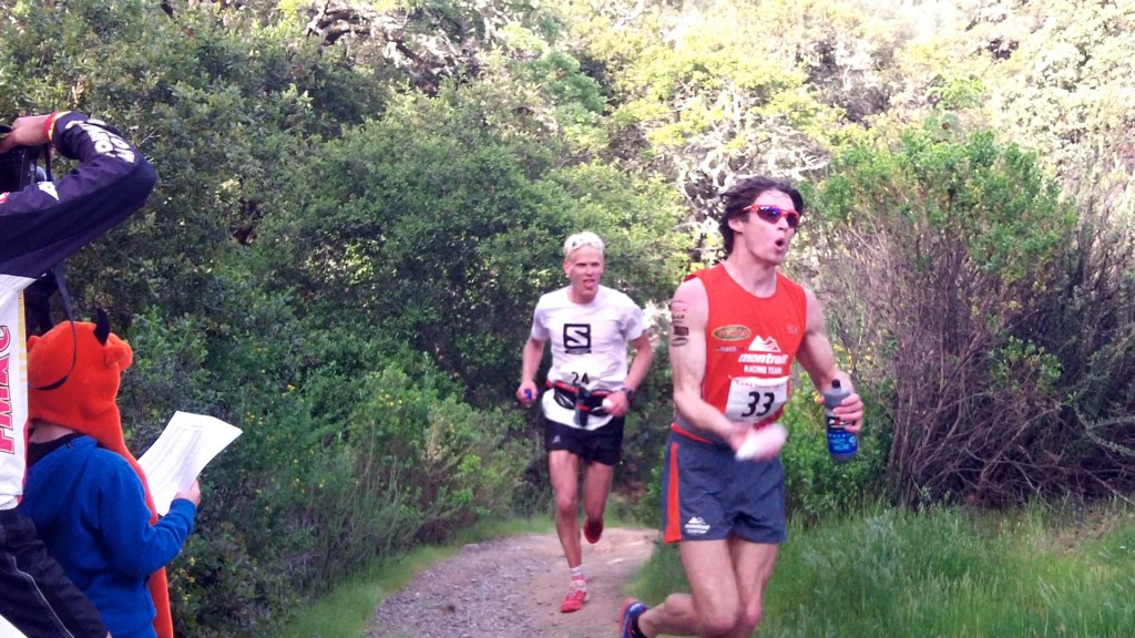 Max King and Cameron Clayton came flying into the 25-mile aid station at 2hrs 55min