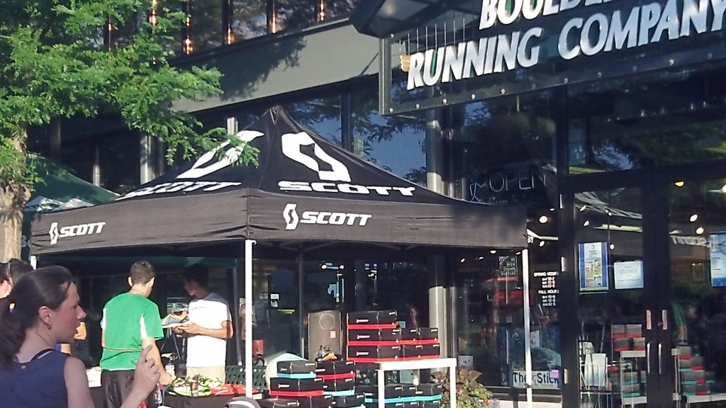 Working a shoe demo night at the Boulder Running Company store. Big turn out for the group run!!