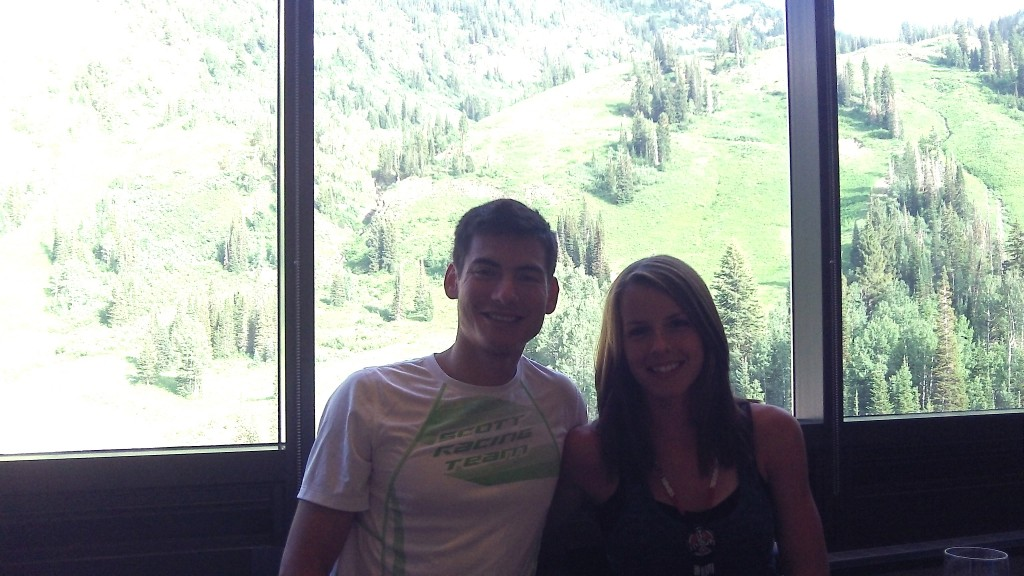 Sandi and I at dinner  on the top floor where we stayed at the Cliff Lodge in Snowbird