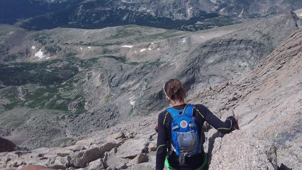 Sandi starting the descent down from the Longs Peak summit a couple weeks earlier...