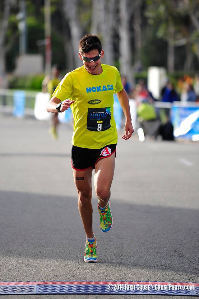 Finishing the 2013 Carlsbad Marathon. Photo: Rich Cruse