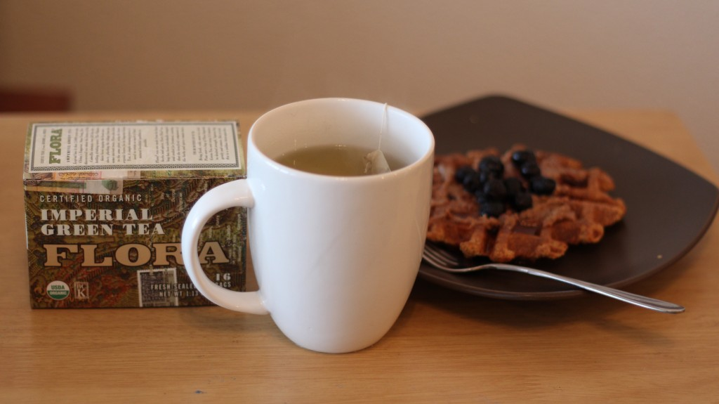 Flora Green Tea with Flora Health Flaxseeds in my waffles!