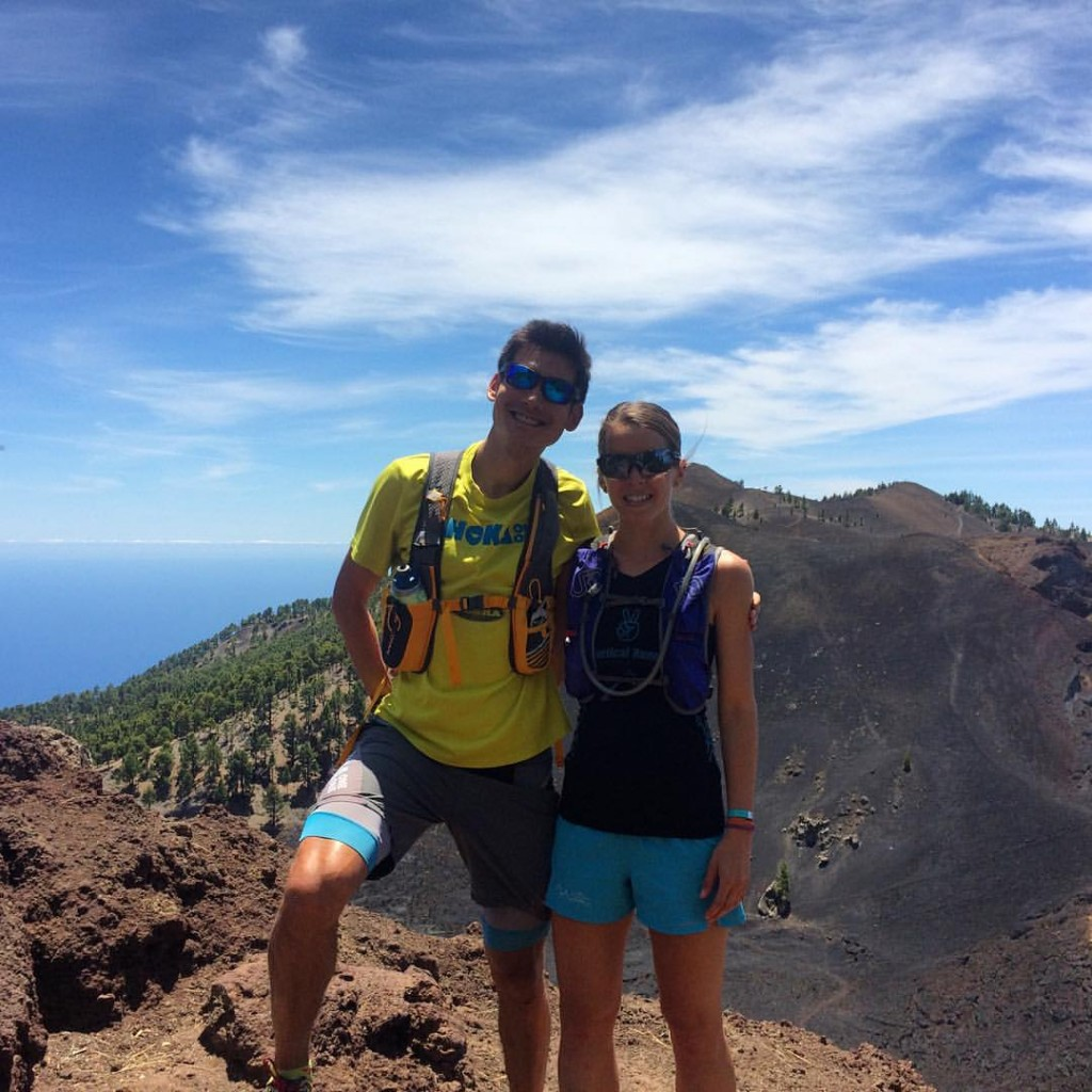 Adventuring on the Transvulcania course with my adventure partner, Sandi!